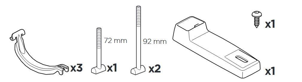 Комплект Thule Bike Rack Around-the-Bar адаптер 8898, специално проектиран за монтиране на велосипеден багажник Thule UpRide 599 върху стоманени напречни греди или такива без канал.